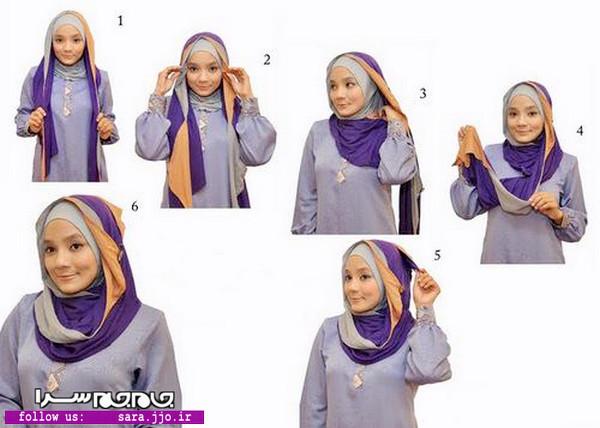 مدل بستن روسری گره کج عکس