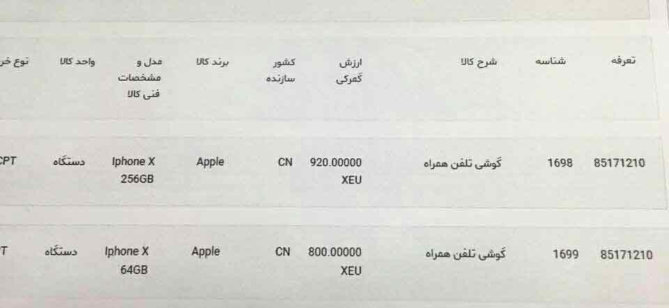 قیمت آیفون X در گمرک چقدر است؟