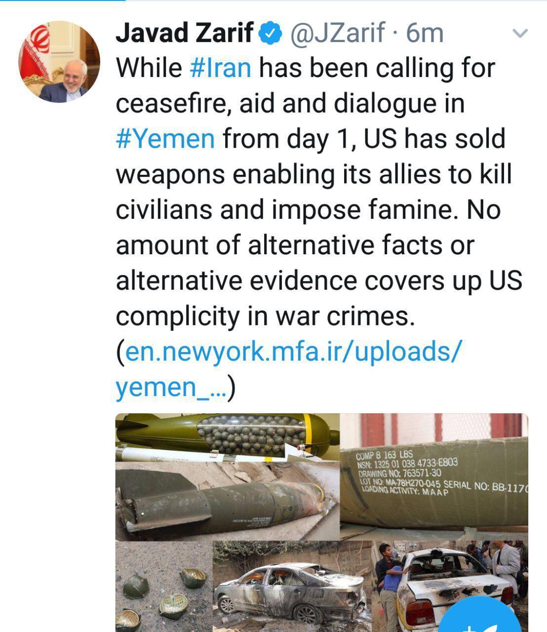 توئیت ظریف در خصوص فرافکنی و نقش آمریکایی ها در بحران یمن