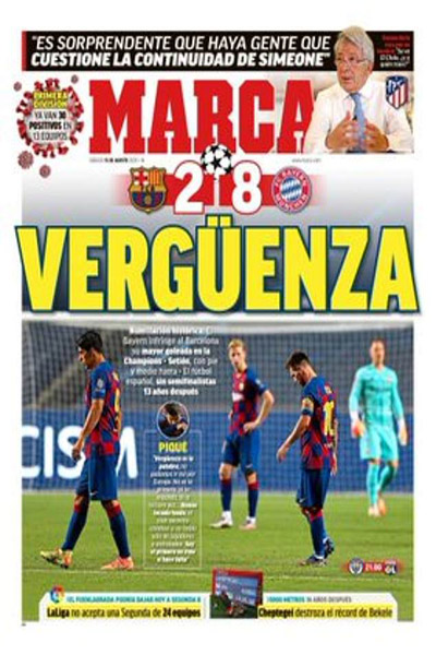 صفحه نخست روزنامه های ورزشی اسپانیا بعد از تحقیر شرم آور بارسلونا (تصاویر)