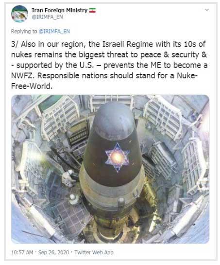 رژیم اسرائیل با دهها کلاهک اتمی همچنان بزرگترین تهدید برای صلح و امنیت است (+عکس)