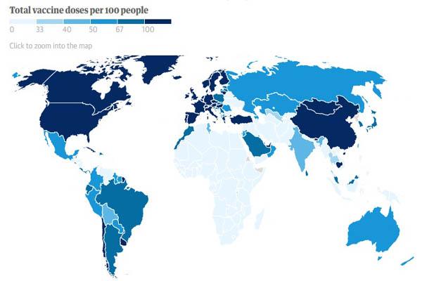 واکسن در جهان چگونه پیش می رود؟ (+نقشه جهانی واکسیناسیون)